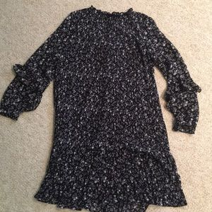 Zara Floral Pleated Long Sleeved Dress